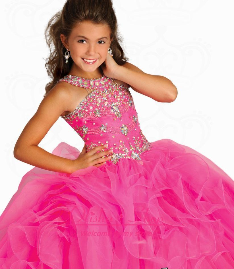 Stunning Crystal Girls Pageant Dresses with Beaded Halter Organza Ruffles Floor Length Pink Party Prom Gowns Glitz Little Flower Girls Dress