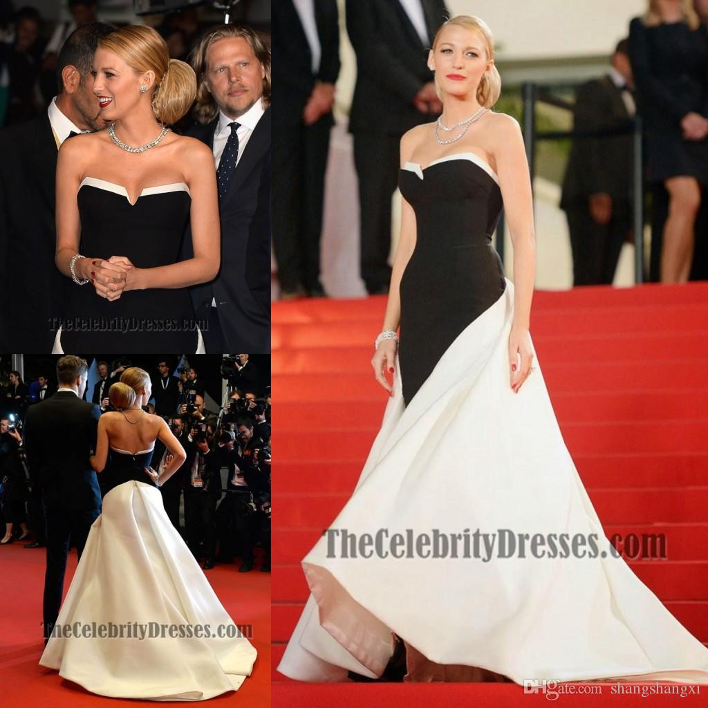 Blake Lively Dress 2015 Black And White Evening Dresses Sexy ...