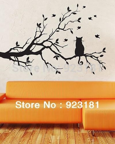 Ome Decor Wall Sticker Birds And Cat On Tree Branches Wall Art Stickers  Decal Diy Home Decoration Wall Mural Removable Bedroom Stickers 8.