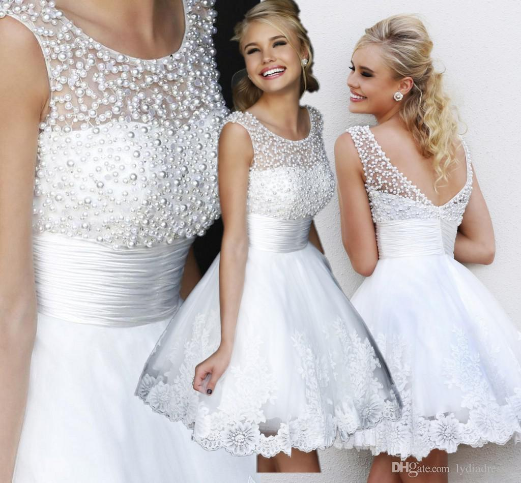 A Line Short Lace Wedding Dress 2015 White Short Scoop Pearls Beads
