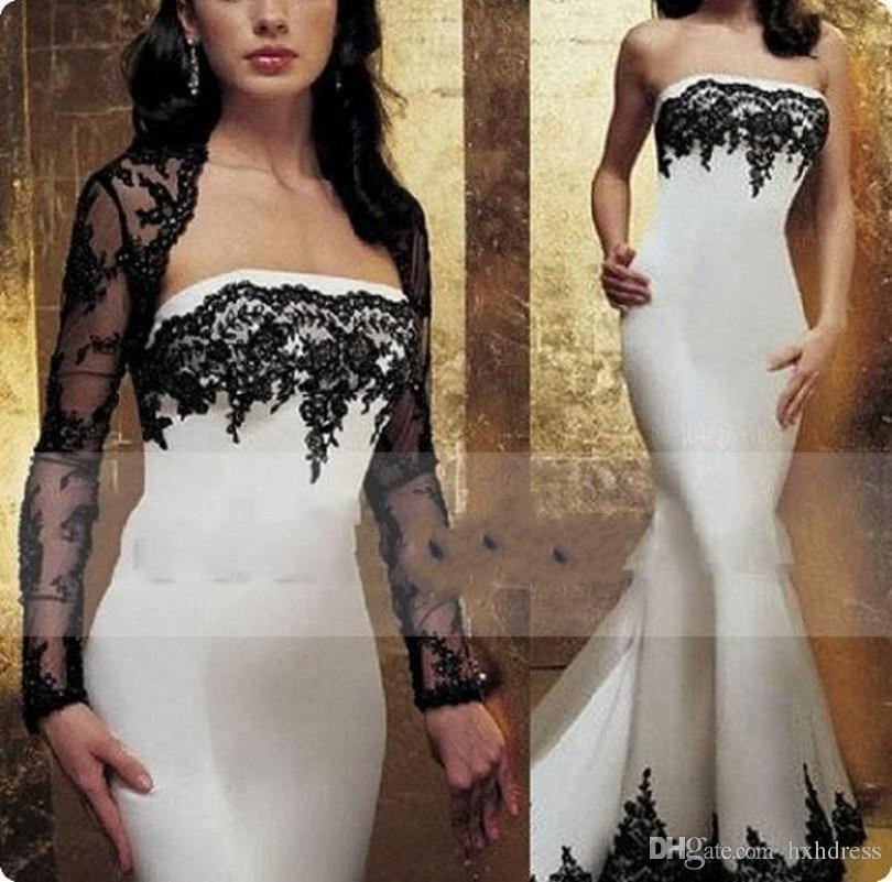 2019 New Modest Sheer Lace Jacket Evening Dress Black and White Mermaid Beaded Appliques Formal Party Gowns with Long Sleeve Bolero 174