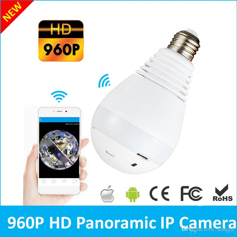 360 Degree 1.3MP Fisheye Panoramic WiFi Wireless P2P Cloud Security Network IP Camera LED Bulb Light