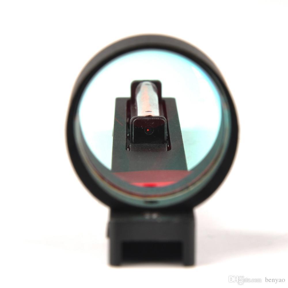 2017 Nueva Fibra Roja Alcance Holográfico Rojo Sight Dot Sight Para escopeta Rib Rail Gun Accesorio de Caza