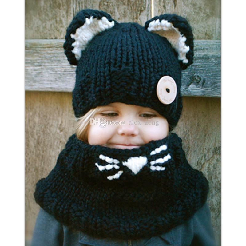 Belle mode chat oreille hiver coupe-vent chapeaux + écharpe ensembles pour enfants au crochet coiffures chapeau chaud doux bébé hiver bonnets enfants écharpe chapeau