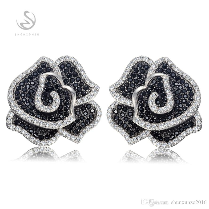 New Arrivals Noble Generous S-White and Black Cubic Zirconia Vintage 925 sterling silver Promotion heart set ring/earring/pendant