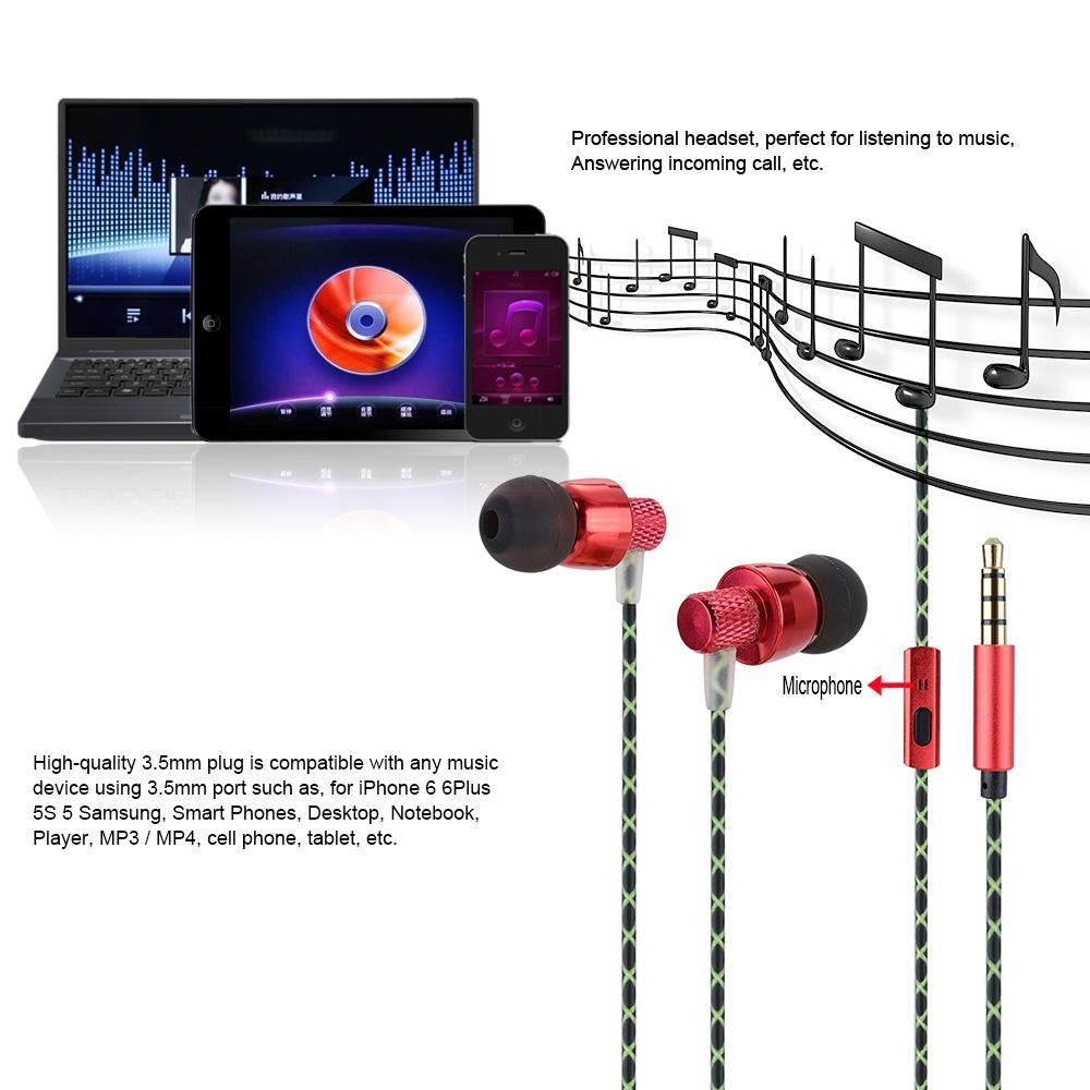 Andoer Casque Stéréo Super Bass Sport Musique Casque 3.5mm Audio In-ear écouteurs avec Micro pour iPhones Ordinateur de bureau Ordinateur portable