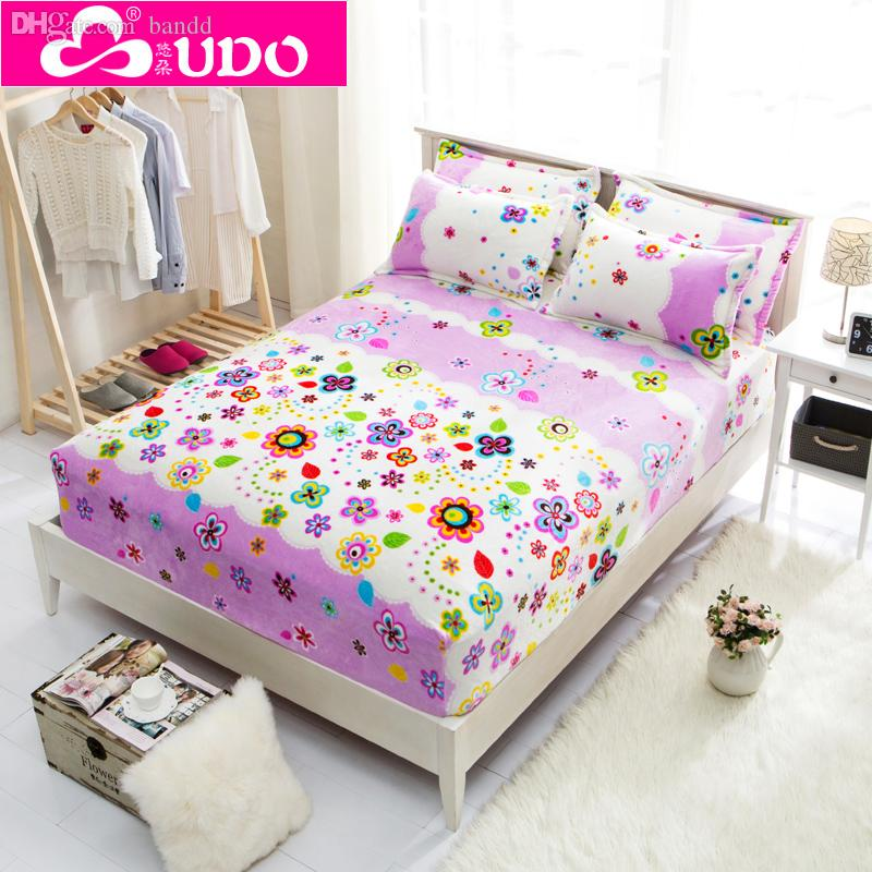 Elegant 2018 Wholesale Flannel Winter Bed Sheet High Quality Queen Size Fitted Sheet  Bedspread Beding Sheets Comforter Bedding Set Thick Mattress Cover From  Patrici ...