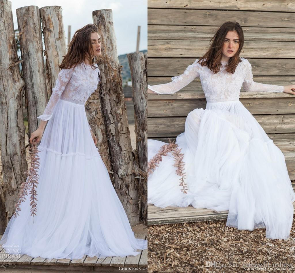 cc5c8ce48e7 Discount Pure White 2016 Lace Wedding Dresses Christos Costarellos Three  Quarters Sleeve See Through Top Bohemia Beach Wedding Dress A Line Tulle  Best ...