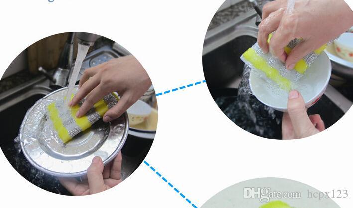 마이크로 화이버 천 접시 천 실크 주방 스폰지 청소 용품 4