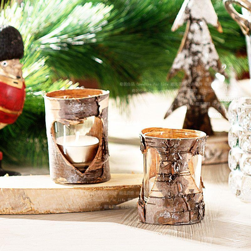 New Birch Bark Glass Candle Holders Heart Shape Wood Vintage Candle