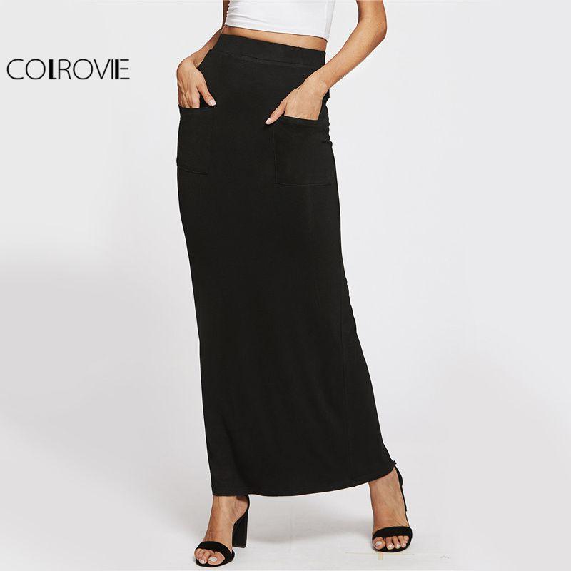 2019 COLROVIE Sheath Basic Maxi Skirt Elegant Women Casual Pockets Front  Pencil Slim Summer Skirts 2017 Work Brief Autumn Long Skirt Q1113 From  Shen07 fd0d58f0625b