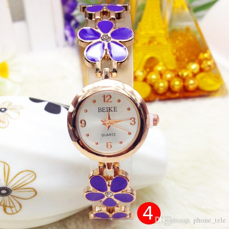 Women Girls Flower Watches Four Leaf Clover Rose Golden Bracelet Luxury Wrist Watch Metal Chain Wristwatches for Women Girls Fift