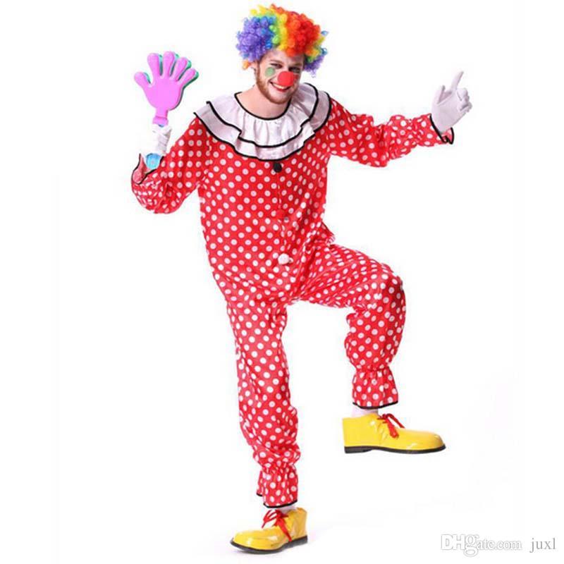 Купить Оптом Взрослый Хэллоуин Клоун Цирк Костюм Смешное Платье Косплей  Костюмы Комбинезоны Красный Любопытный Весело Новый Год Производительность  Одежда ... 1cc72a7194792