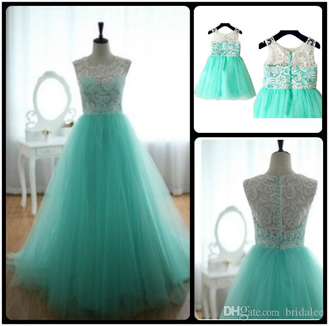 4bdfe605f2a Turquoise Aqua Blue Tulle Ivory Lace Flower Girl Dress Children Toddler  Dress For Wedding Junior Bridesmaid Dress Custom Made Mother Dresses  Wedding Dresses ...