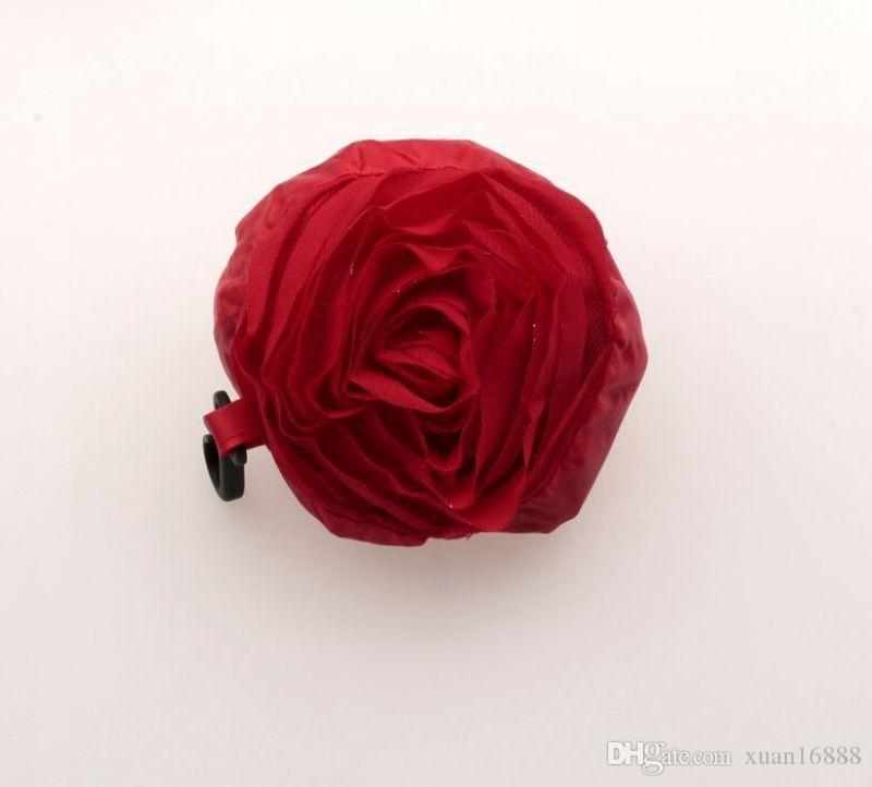 Caliente ! Bolso de compras reutilizable plegable verde de la rosa del color de bastante 39.5cm x38cm 430