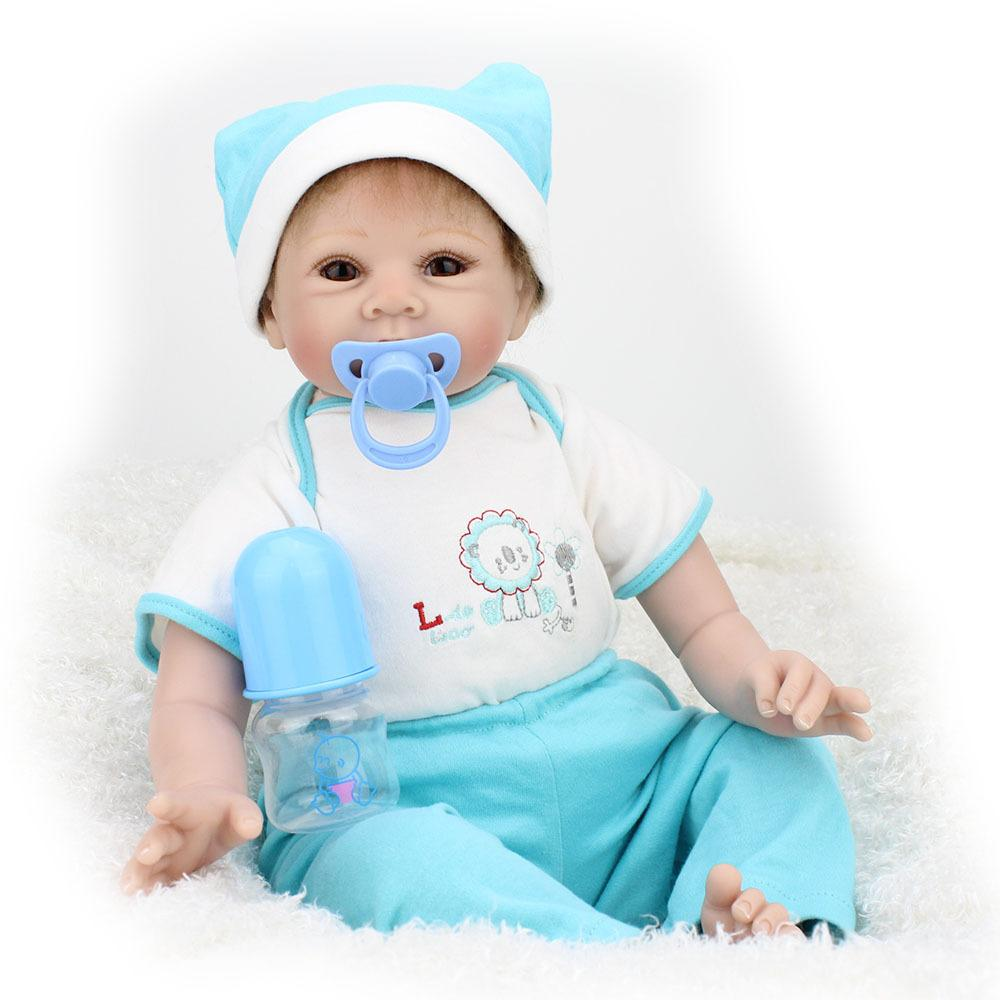 55cm Reborn Baby Dolls Boy Lifelike Doll With Magnetic Pacifier ...