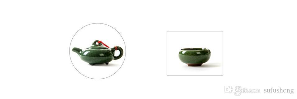 Vente chaude couleur verte six tasses et un pot Kung Fu ensemble de thé promotion glace crack glaçure outils à thé T148