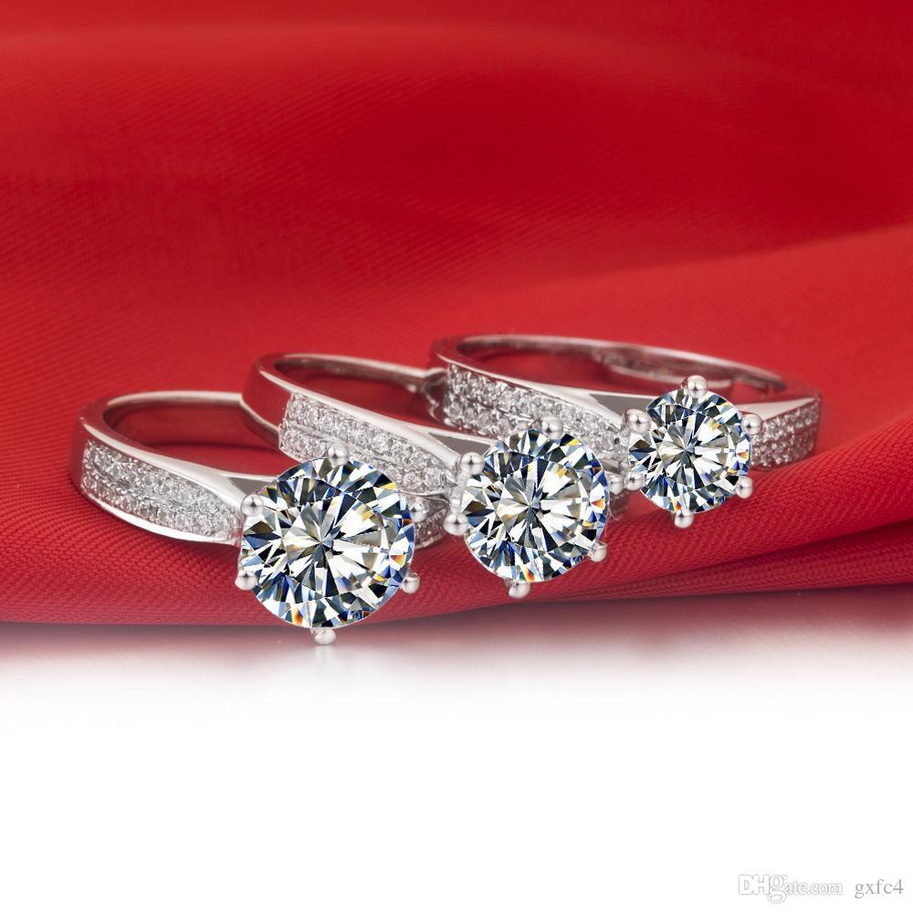 3 ct synthetische Diamant Ringe Sterling Silber Eheringe für Frauen Verlobungsringe für Frauen Weißgold 18k Drop Shipping