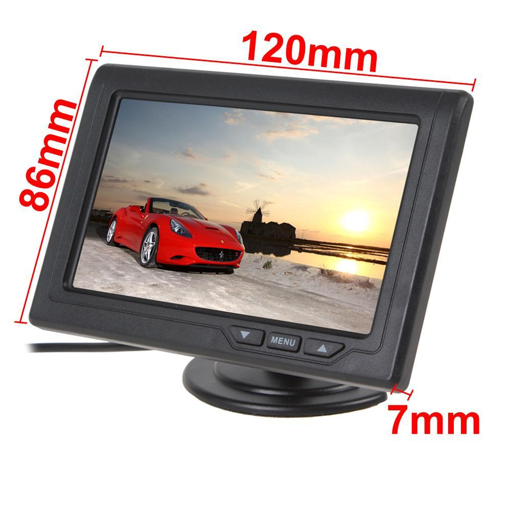 4.3 Inch Color TFT LCD Screen 2-Channel Video Input Car Rear View Monitors + E306 18mm Color CMOS / CCD Car Camera CMO_502
