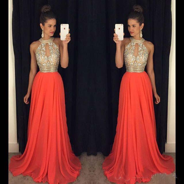 Prom Dresses 2016 High Neck Evening Dresses Cheap Bridesmaid Dresses Orange Long Dresses Evening Wear Wedding Evening Gowns Sexy Ball Gowns