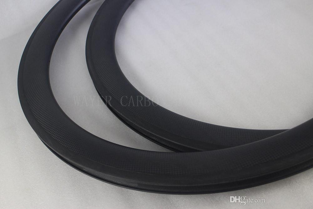 50mm deep clincher carbon bike rims 25mm wide 18/24H internal holes basalt braking track 3k matte surface finish road bike rims
