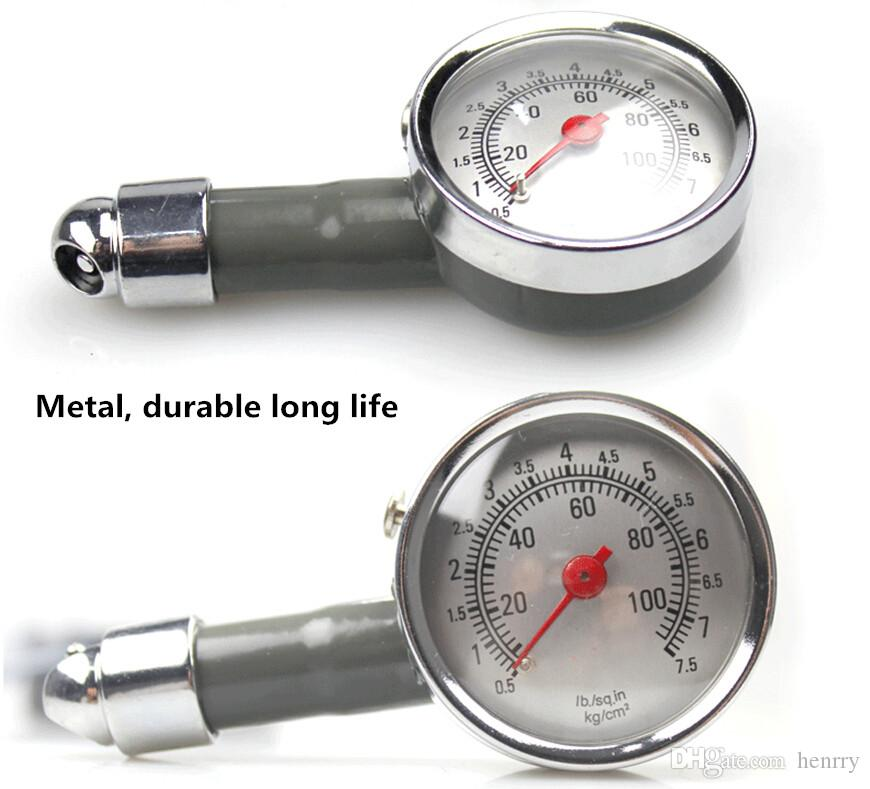 Mini Metal Portable Tire Pressure Gauge For Car Motorcycle Bike LB/SQ.IN KG/CM2 TPMS