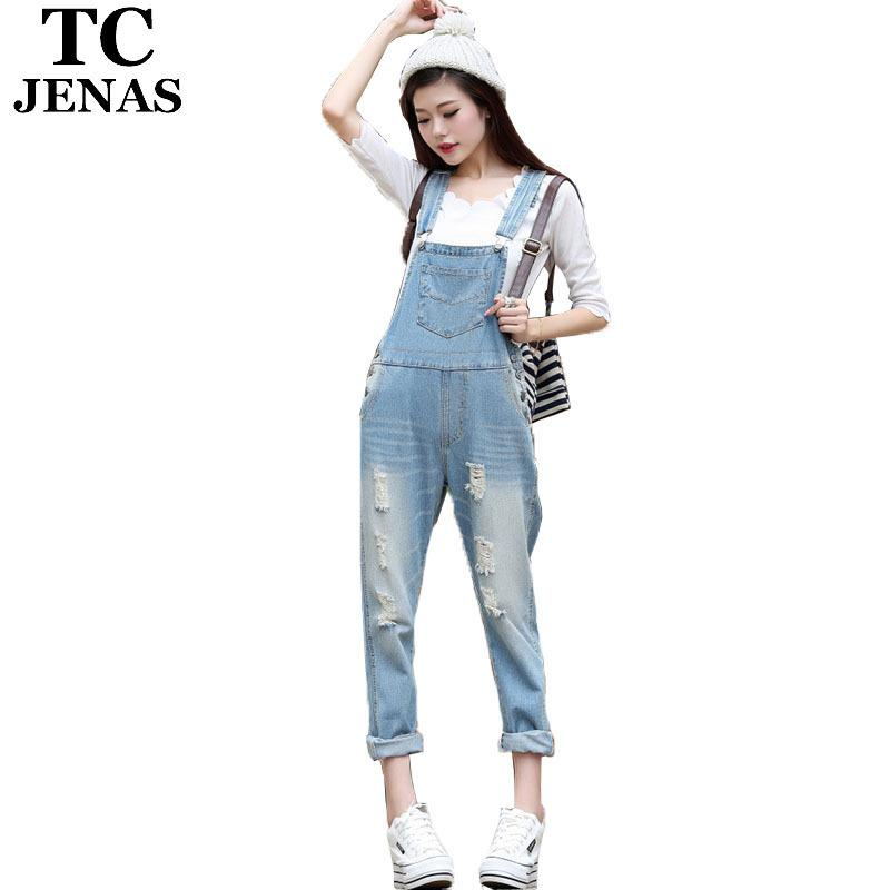 2019 Tc Jean Jumpsuit Women Overalls Ripped Midweight Washed Blue