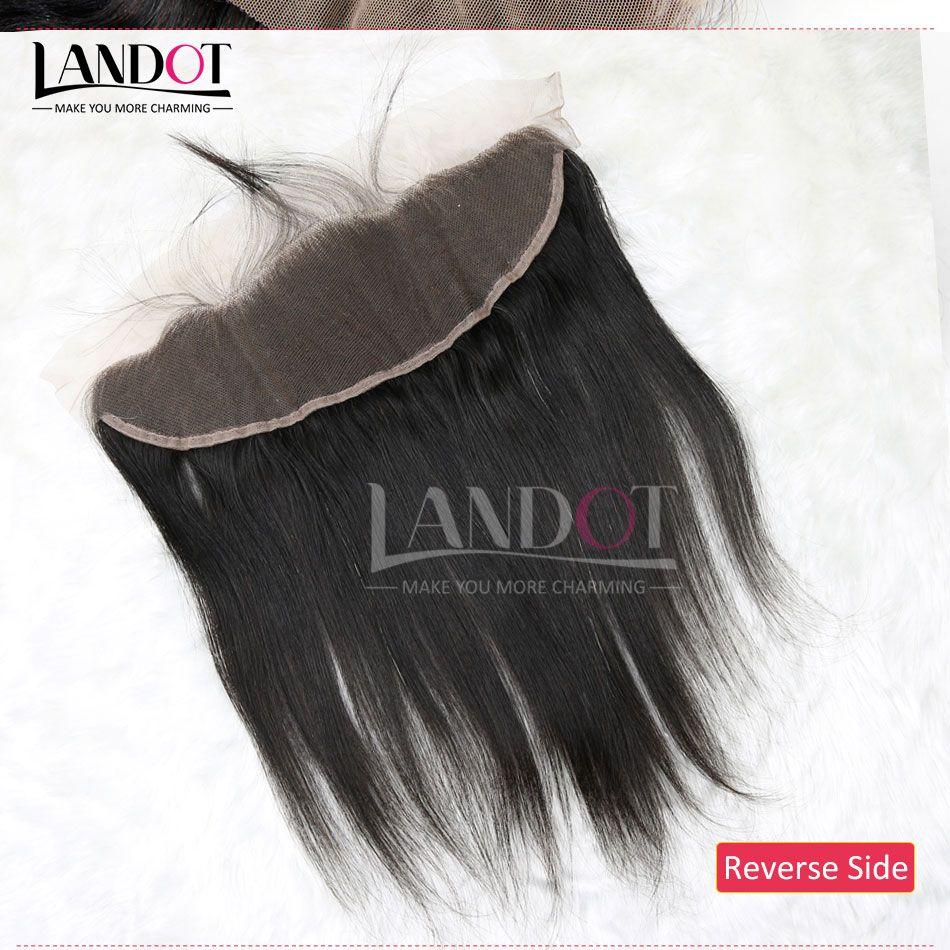 Grado 8A Brazilian Silky Straight Lace Frontal Closure Size 13 * 4 Full Lace Frontal 100% Virgen sin procesar Cierres de cabello humano Natural Black