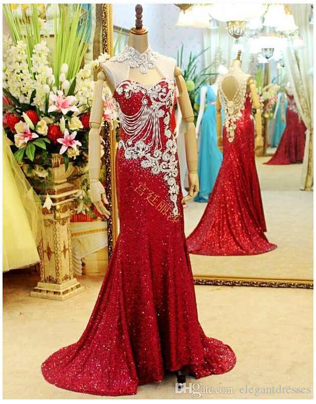 Robes rouges 2021 Nouvelle Arrivée Cristal de luxe Perles Perles Backress Robes De Pal Robes De Soirée Robe de soirée Robe de soirée Moyen-Orient Haute cou