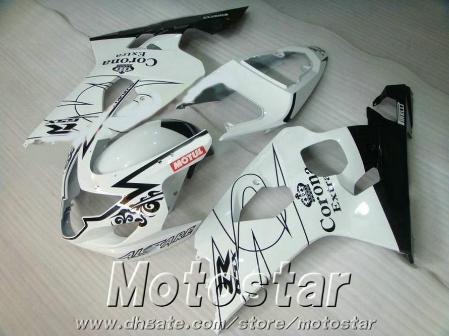 Conjunto de carenagens QUENTE para SUZUKI GSXR600 GSXR750 04 05 K4 GSX-R 600/750 2004 2005 preto branco Kit de carenagem de alta qualidade Corona SV87