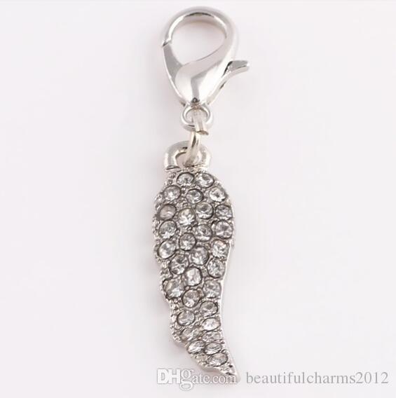 Vente en gros / or, argent à choisir cristal ange aile pendentif breloques pendentif ajustant