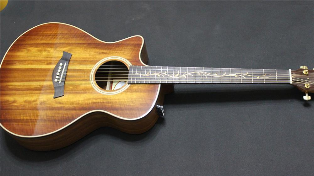 2015 new single cut lefty guitar koa electric acoustic guitar left handed solid koa guitar b. Black Bedroom Furniture Sets. Home Design Ideas