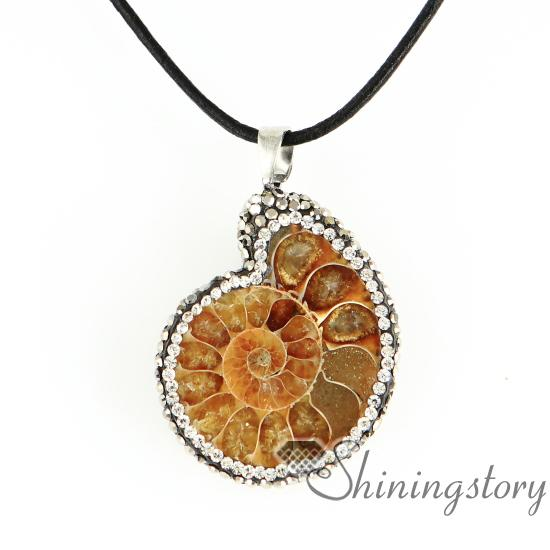 Wholesale seashell ammonite fossil pendants sea shell pendant wholesale seashell ammonite fossil pendants sea shell pendant necklaces handmade semi precious stone jewelry rhinestone sea shell pendant gold jewellery mozeypictures Images