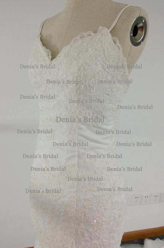 Real Image Mermaid Wedding Dress Spaghettiträger rückenfrei mit Spitzenapplikationen Kapelle Zug Brautkleider Steven Dhyz 01