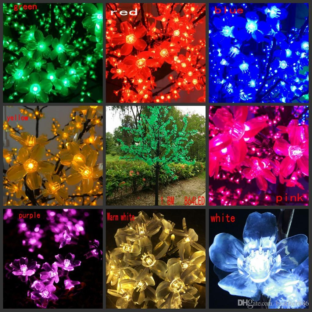 LED Artificial Cherry Blossom Tree Light Christmas Light LED Bulbs 1.8m Height 110/220VAC Rainproof Outdoor Use