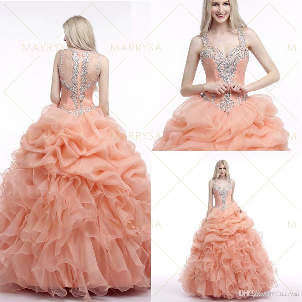 2015 Peach Quinceaneras Dresses Ball Gowns Crystals Beading Sheer ...