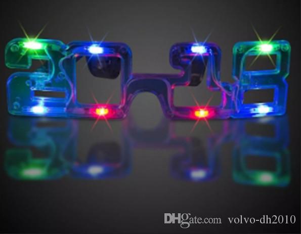 LED glow glasses 2018 Flash glasses Toy dance Light Up Led lampeggiante occhiali Halloween Christmas Birthday Party Eyewear LLFA
