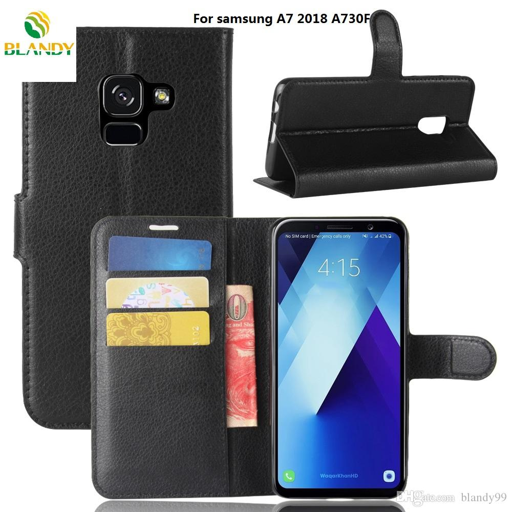 Samsung A5 A7 2018 A530F A730F Litchi Lychee Portafoglio Cuoio DELL'UNITÀ di elaborazione della copertura del basamento della copertura di TPU samsung C5 pro J7 più C10 Xcover 4