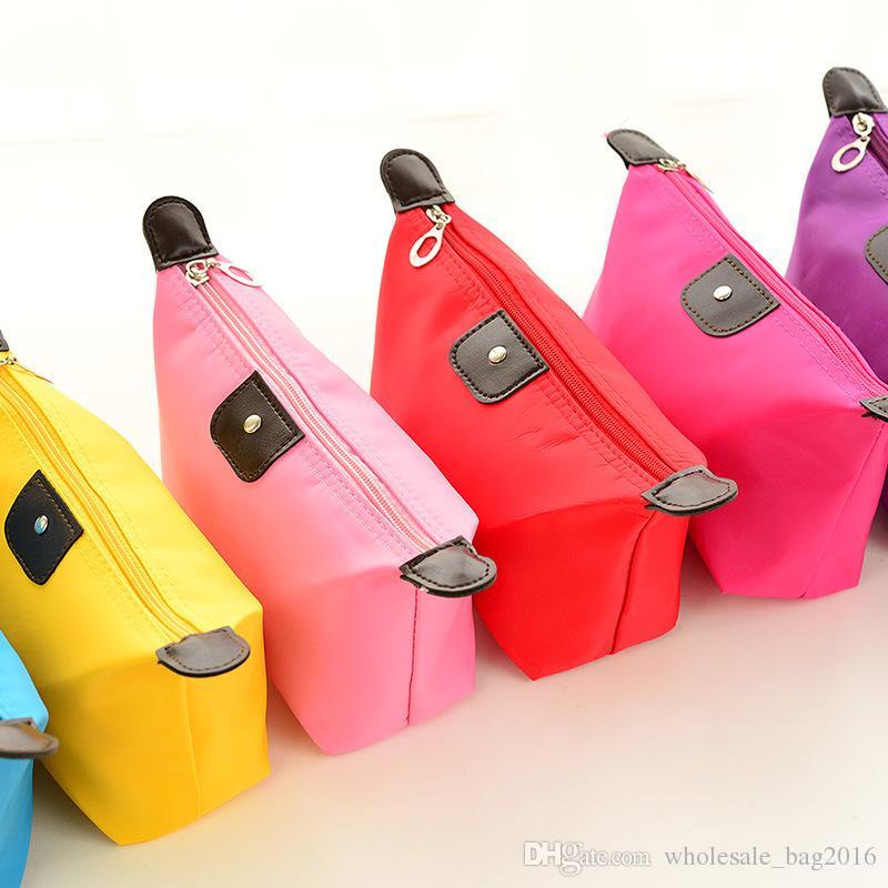 Sacos de cosméticos para mulheres MakeUp Pouch Sólidos compo o saco de embreagem Hanging artigos de higiene pessoal Kit de Viagem Jóias Organizer Titular Bolsa Casual Cores