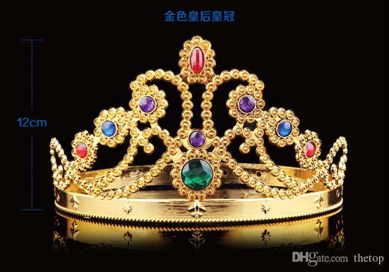 OPP Çanta ile Cosplay Lüks King Kraliçe Taç Moda Parti Şapkası Lastik Prens Prenses Taçlar doğum günü partisi Hat Altın Gümüş 2 Renkler