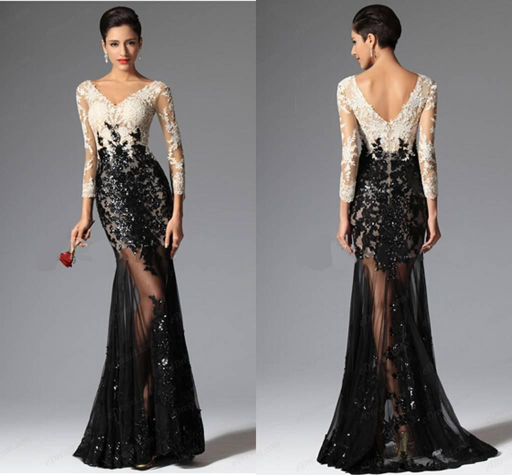 64623ef474 Cheap Modest Mermaid Prom Dresses 2015 Formal Dresses V Neckline Black And  White Lace Evening Dresses Sexy Beaded Pageant Gowns Peaches Prom Dresses  ...