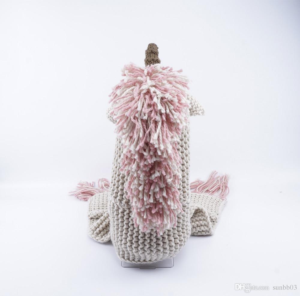 Yeni Sonbahar Kış Çocuk Karikatür Unicorn Tek parça Eşarp Cap Bebek Kız Erkek Örgü Şapka Püsküller kasketleri Crochet Eşarp M140
