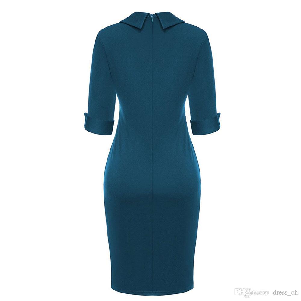 Mesdames Mode Demi Manches Bureau D'affaires Midi Robe Womens Solid Color Work Dresses