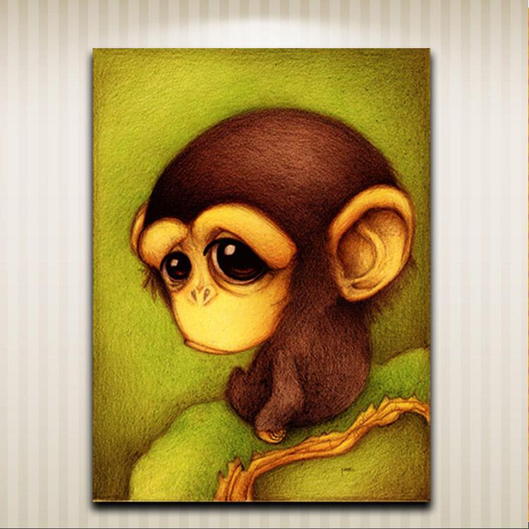 Cute Woodpecker Tortoise Monkey Cat Squirrel Bird Modern Cartoon Animal Wall Oil Painting Printed On Canvas For Living Room Home Decoration