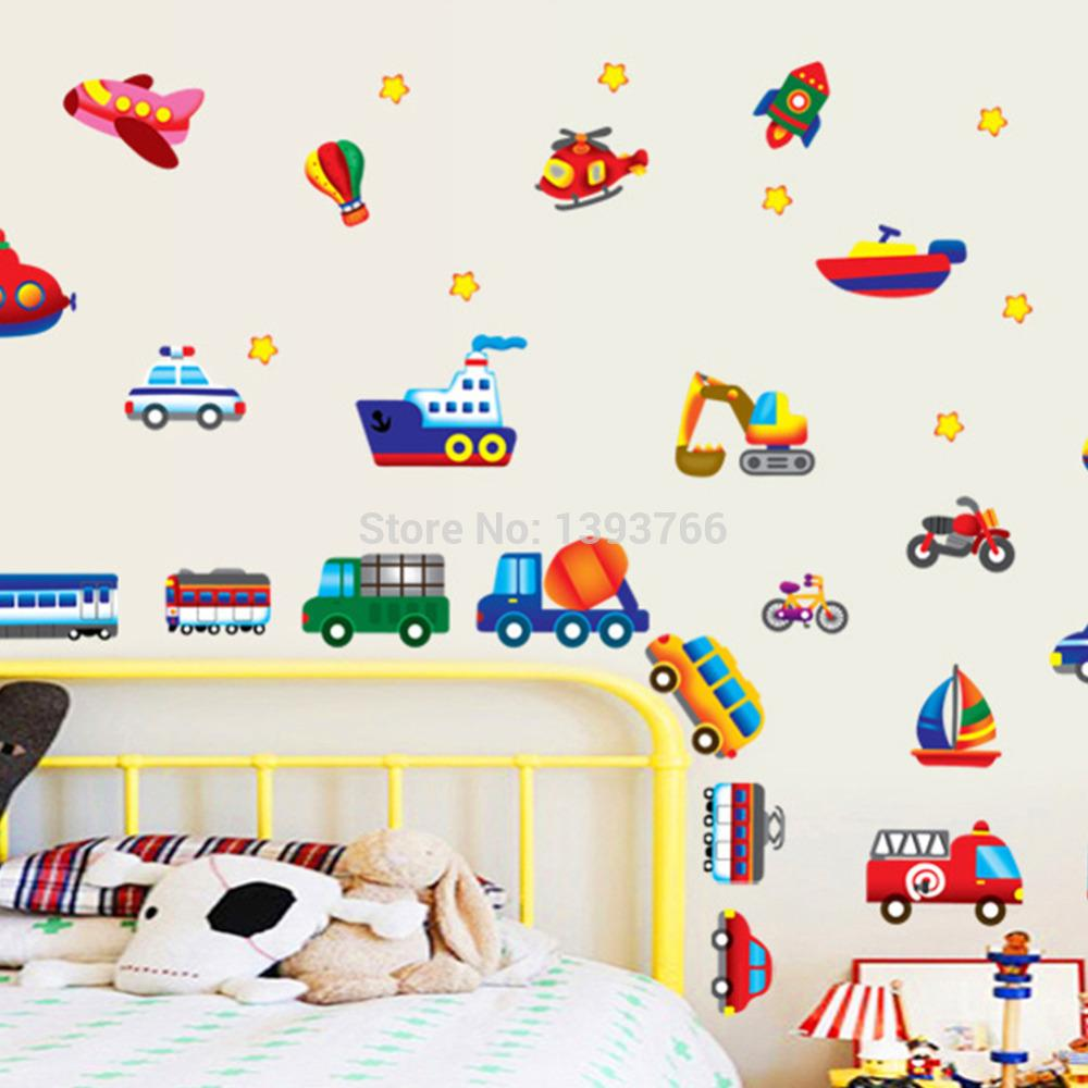 Kid Cartoon Car Plane Wall Stickers For Kidu0027s Room Wall Decals Room  Nursery Decorative Wall Sticker Diy Wallpaper Wall Art Stickers Uk Wall Art Part 73