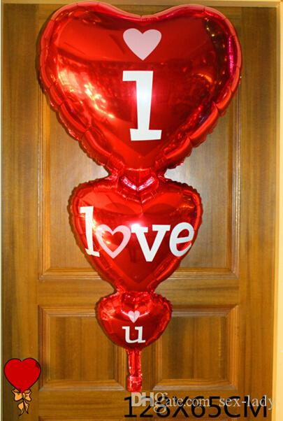 128cm * 60cm Cuore romantico Ti amo Palloncini fioretto San Valentino Festa di compleanno di matrimonio Grandi palloncini Giocattoli gonfiabili Classici