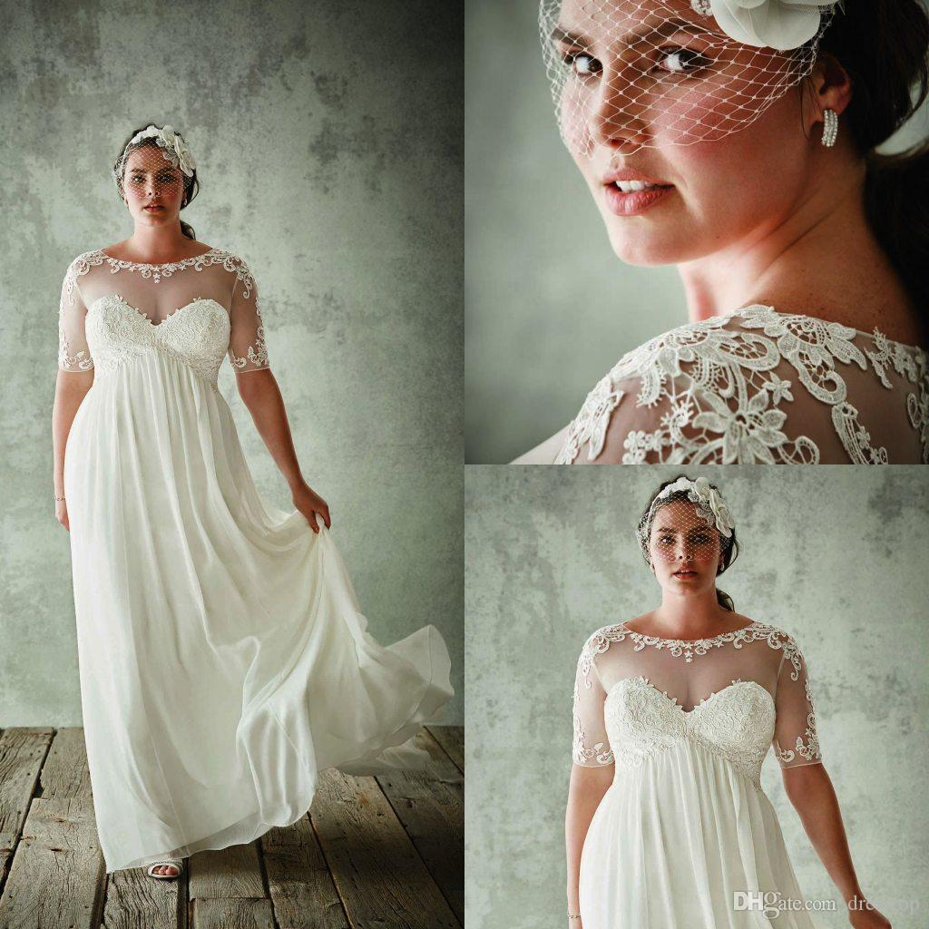 하프 슬리브 쉬어 보석 넥 A 라인 레이스 Appliqued 신부 드레스 쉬폰 제국 허리 웨딩 드레스와 패션 플러스 사이즈 웨딩 드레스