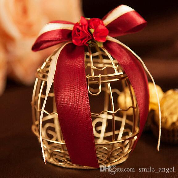 Wedding Favor Boxes Metal Gold Cage Shaped With Red Ribbon Bow