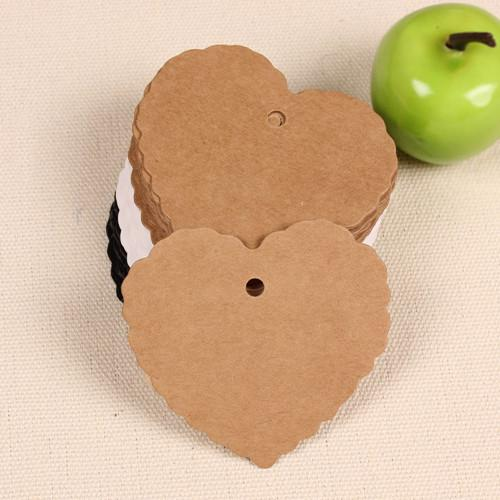 6*5.5cm 2.4*2.2 DIY Kraft Paper Party Wedding Gift Label Cards Heart Scalloped Blank Tags Luggage Label Clothing Price Hang Tag Bookmark