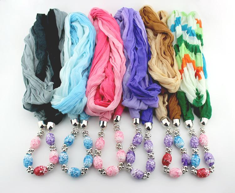 New Women Autumn Winter Warm Beads Necklace Scarves Solid Double Color Gradient Infinity Snood Loop Scarf Neck Circle Scarves